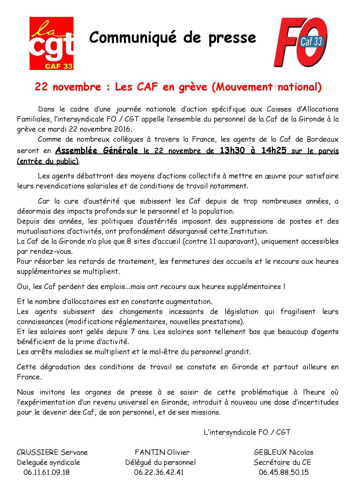 Les Caf En Greve Mouvement National Club Presse Bordeaux