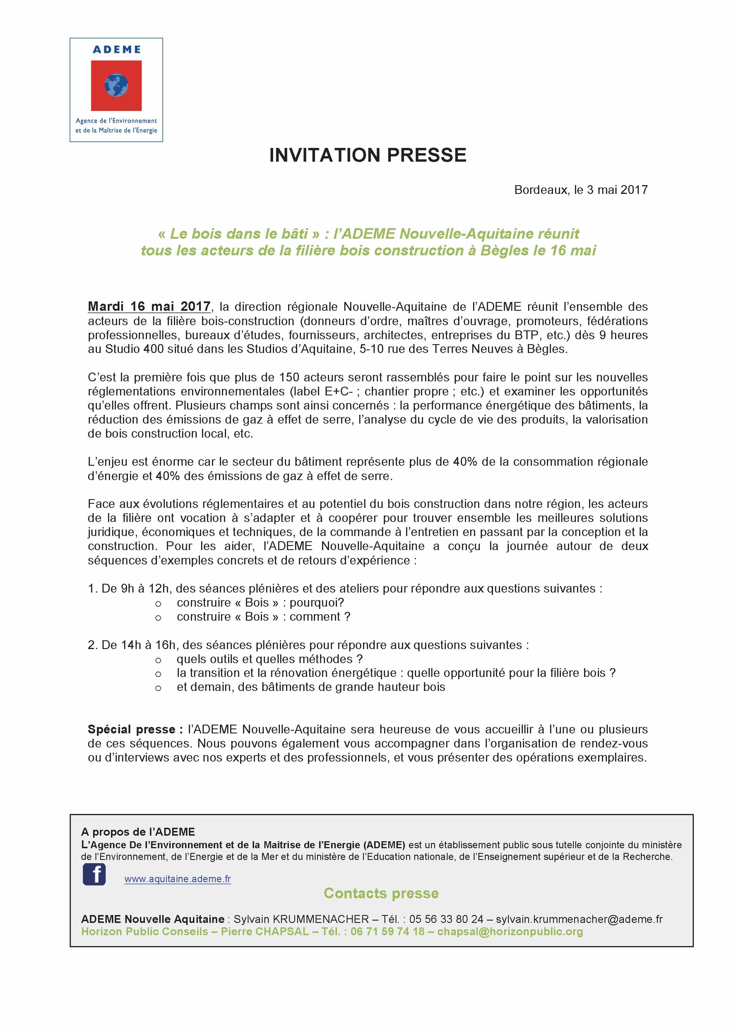 Invitation Presse Ademe Construction Bois En Nouvelle Aquitaine