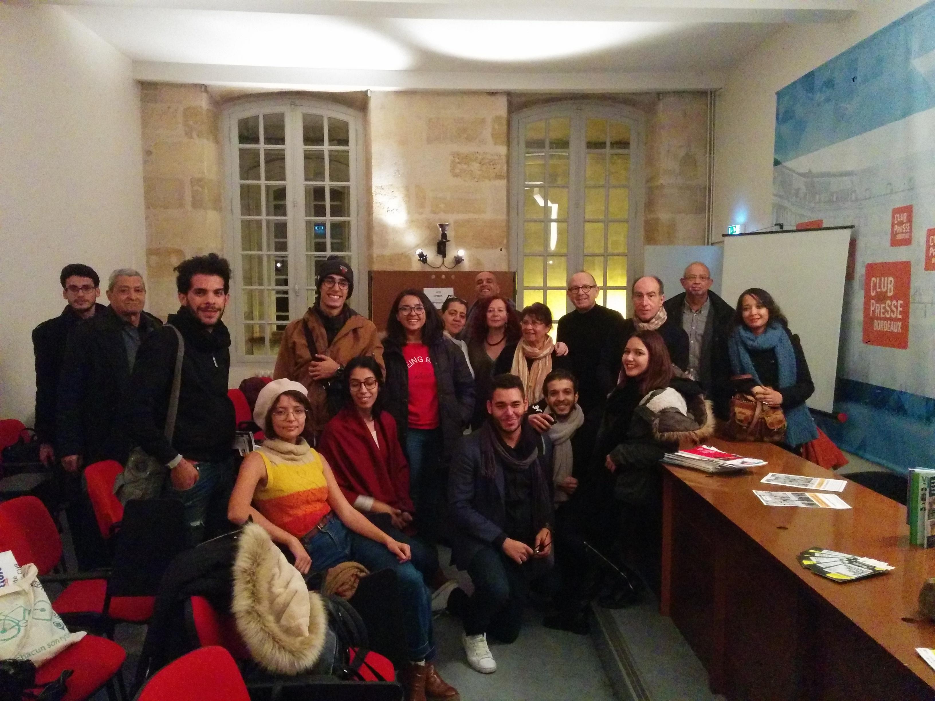 Entre Tunis et Bordeaux des étudiants en journalisme apprennent leur métier et à  consolider la démocratie.Photo Club de la presse de Bordeaux.