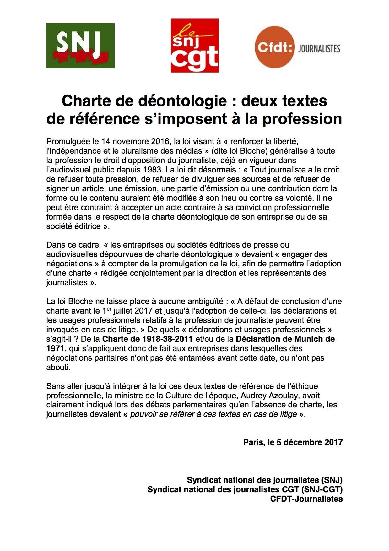 DEONTOLOGIE : le droit d'opposition est entré en vigueur (SNJ - CGT - CFDT)