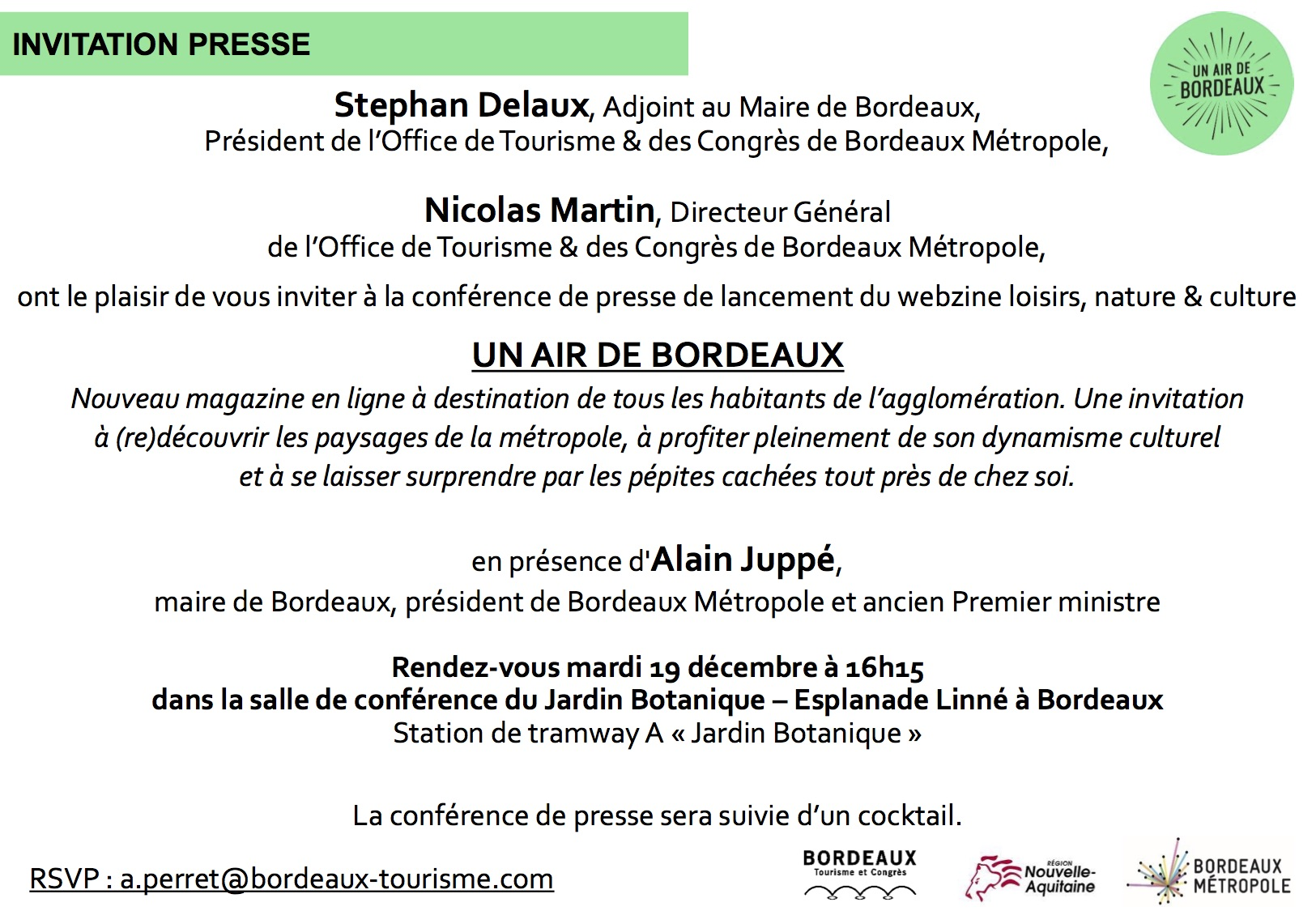 Invitation presse : lancement webzine 'Un Air de Bordeaux'