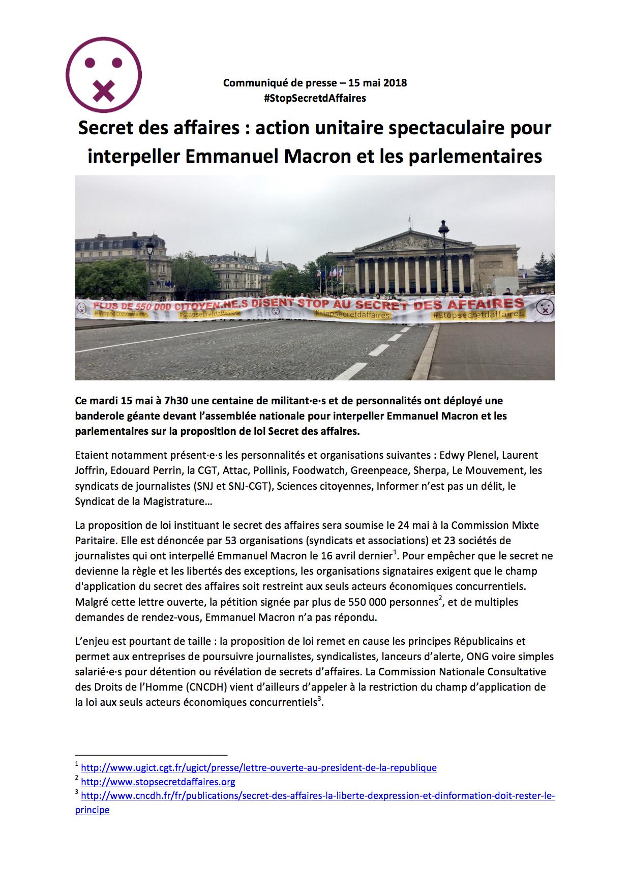 20180515-cp-secret-des-affaires-action-unitaire-spectaculaire-pour-interpeller-emmanuel-macron-et-les-parlementaires-1-glissees