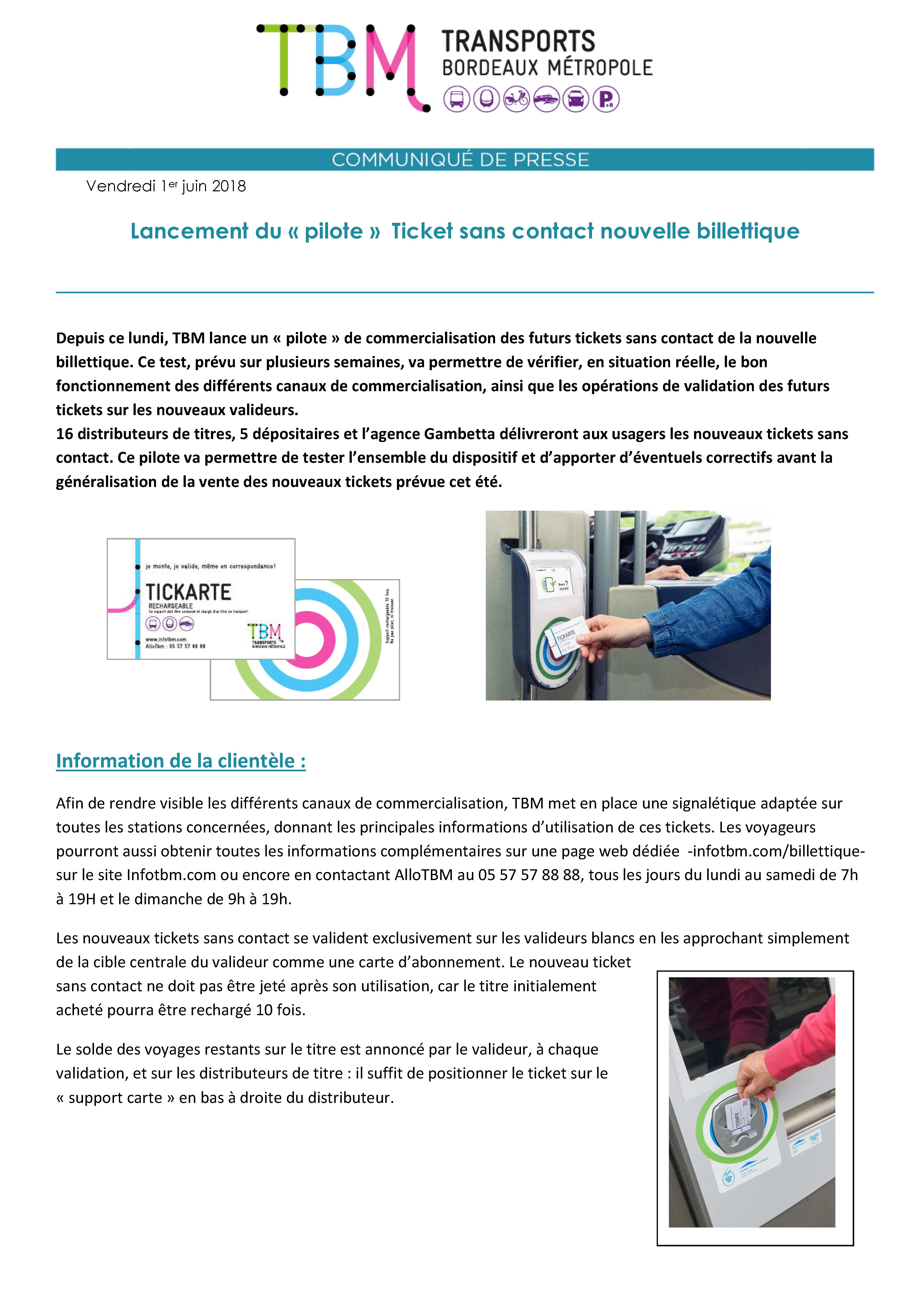 Carte Tbm Bordeaux.Lancement Du Pilote Ticket Sans Contact Nouvelle Billettique