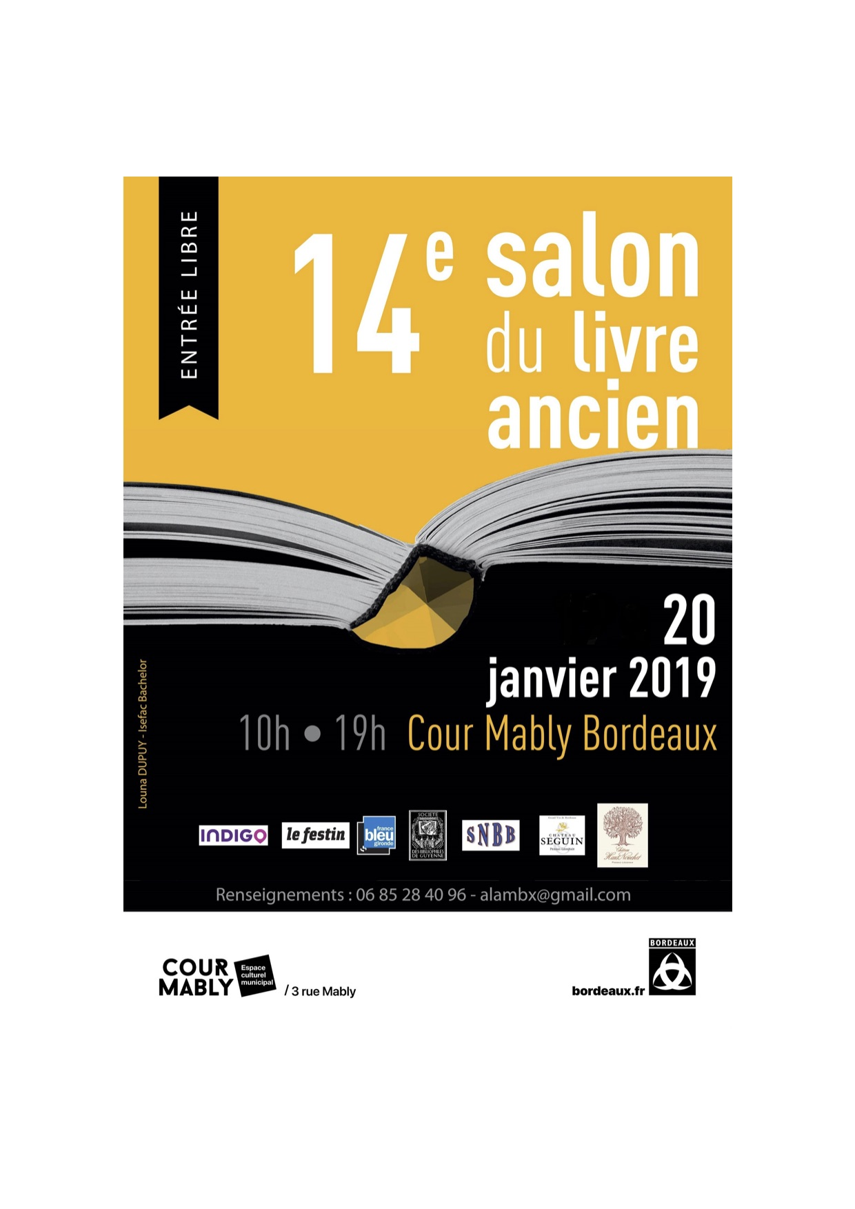 14 me salon du livre ancien 20 janvier 2019 cour mably bordeaux club presse bordeaux. Black Bedroom Furniture Sets. Home Design Ideas