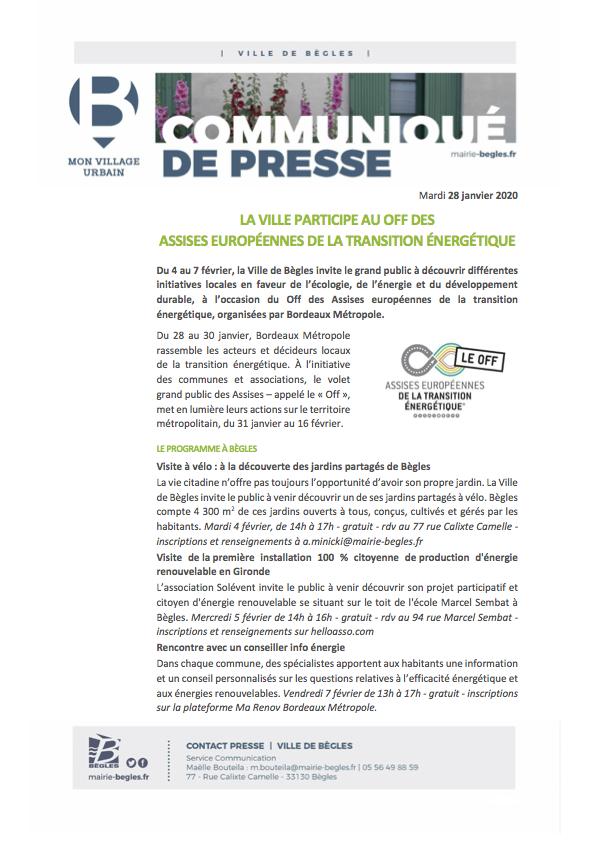 Bègles CP_La ville participe aux off des Assises européennes de la transition énergétique