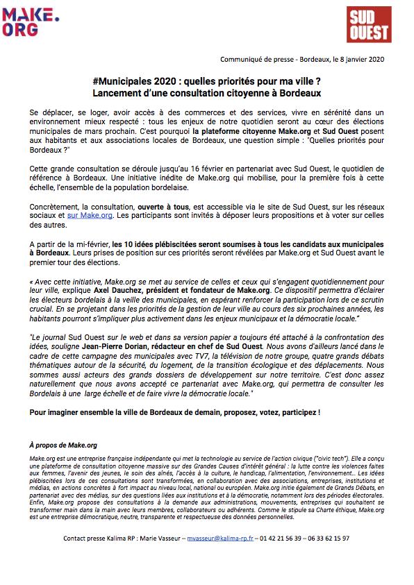 CP Sud Ouest et make.org lancent une consultation citoyenne a Bordeaux