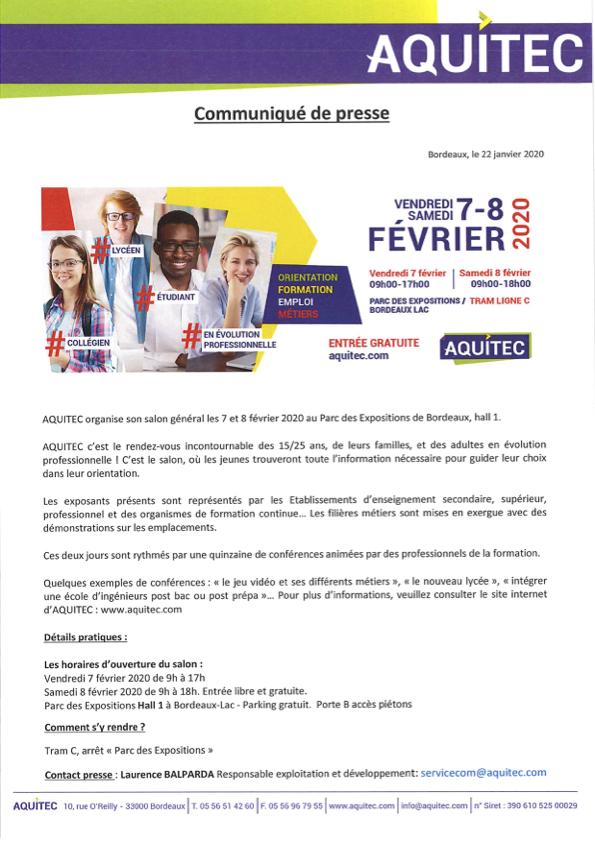 communiqué de presse salon Aquitec février 2020