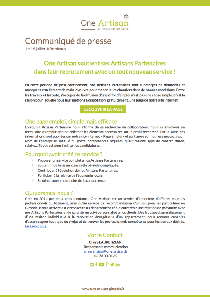 CP One Artisan - nouveau service