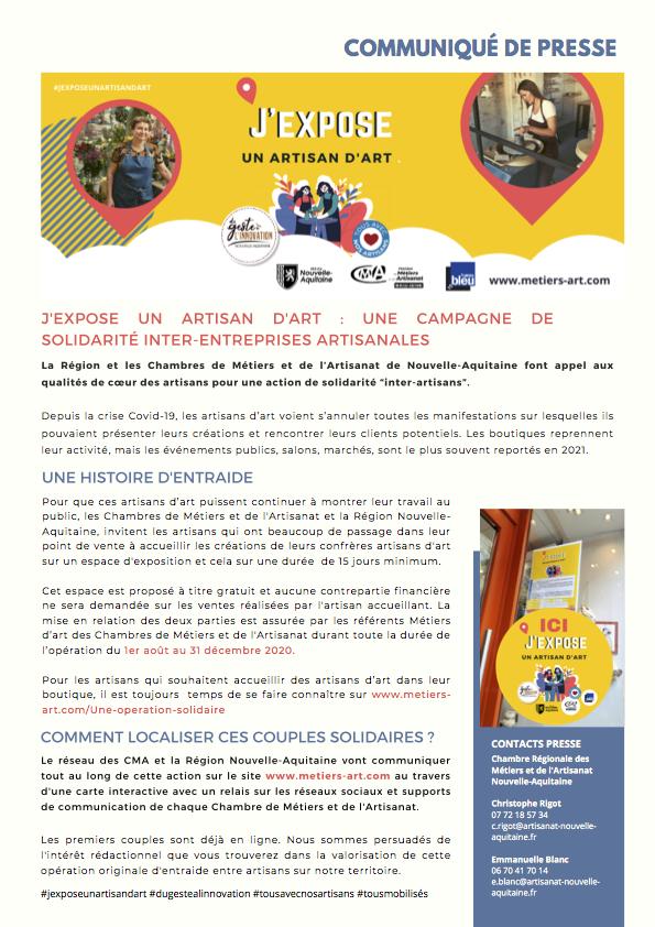 CP REGIONAL J'EXPOSE UN ARTISAN D'ART 2020