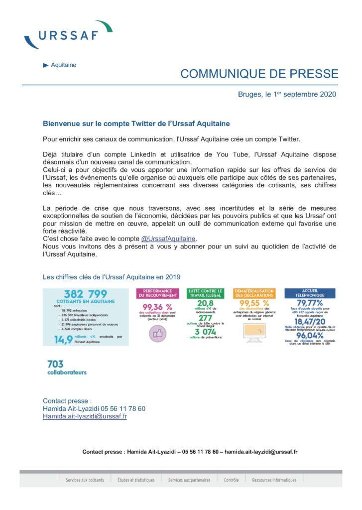 Communiqué de Presse -Compte Twitter Urssaf Aquitaine