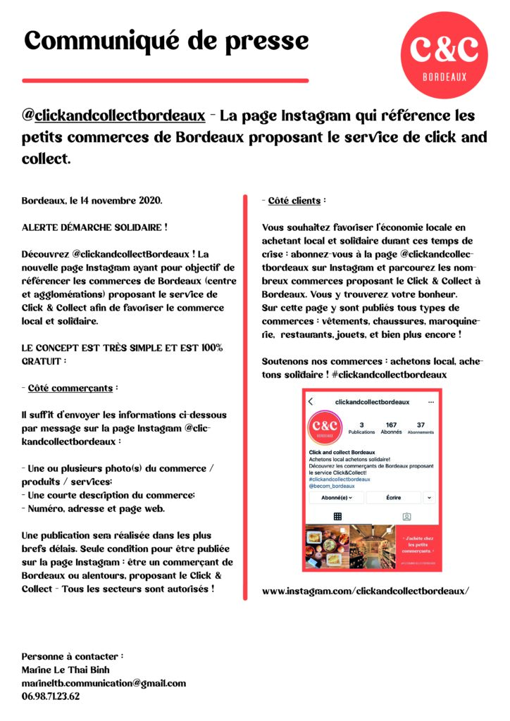 COMMUNIQUE DE PRESSE - CLICK AND COLLECT BORDEAUX